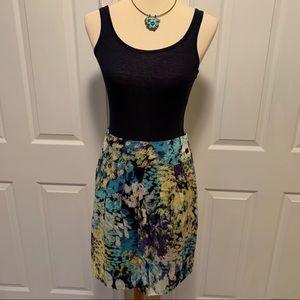 Ann Taylor Watercolor Print Pleated Short Skirt